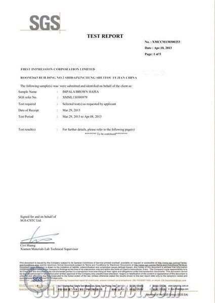 IMPALA/BROWN HAISA SGS TEST REPORT