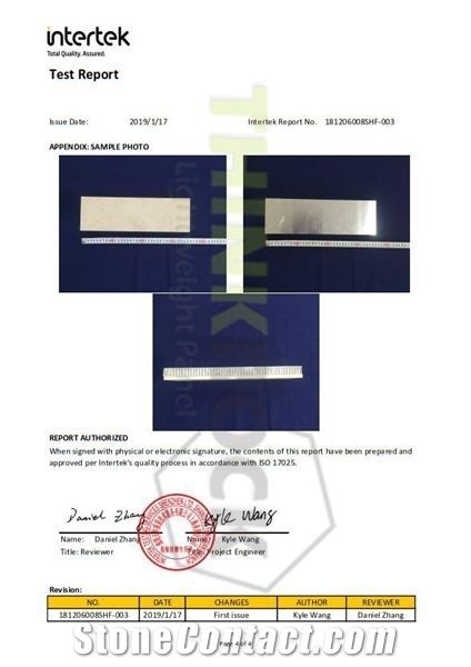 INTERTEK TEST REPORT FOR STONE HONEYCOMB PANELS