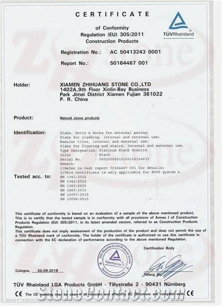 Platinum Black Granite CE Certificate