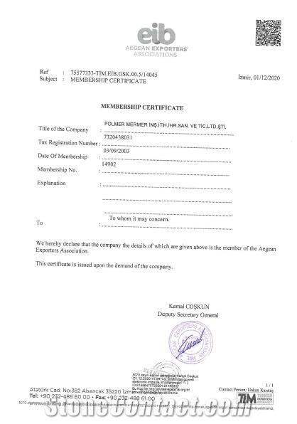 Certificate of Aegean Exporters Associations