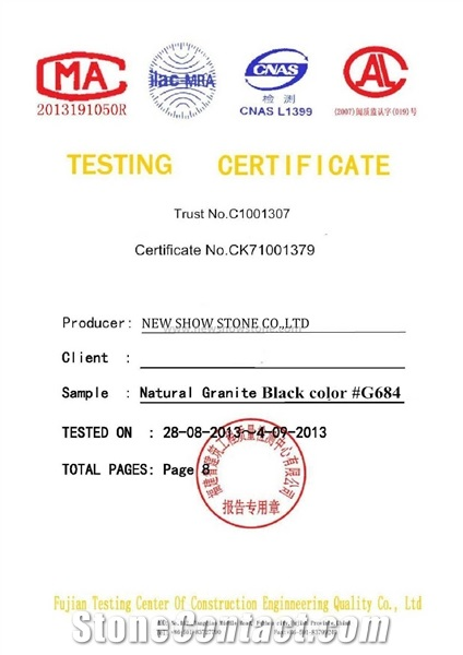Testing Report of G684 Granite