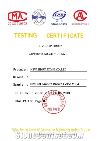 Testing Report of G664 Granite