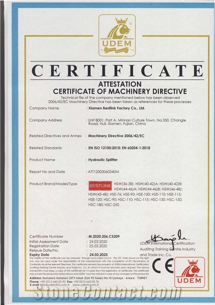CE Certificate of hydraulic splitter