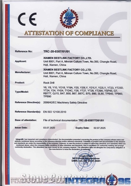 CE Certificate of rock drill
